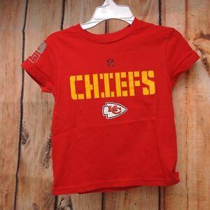 New NFL Kansas City Chiefs Youth Boys Red Dri Fit Cotton Team Logo T-Shirt S-XL