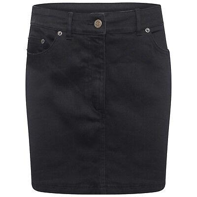 DeMina Womens Ladies Black Denim Western Stretch Black Mini Skirt-Dianne