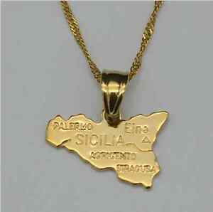 Jewelry & Watches Fashion Jewelry Map of Sicilia Sicily Europe Country 18K Gold plated Necklace Chain Pendant Gift