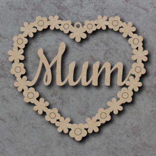 Grand MDF maman fleur coeurs Craft en bois forme Blanc 15 20,25,30 35 cm