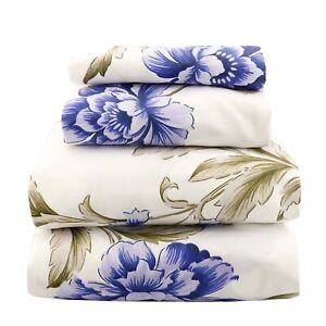 Beautiful-Bedding-Super-Soft-Egyptian-Comfort-Sheet-Set-Blue-amp-Olive-Floral