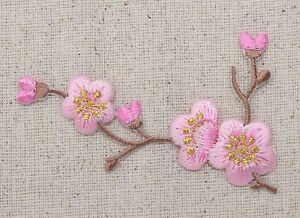 LEFT Pink Flowers//Blossom Quince Brown Stem Iron on Applique//Embroidered Patch
