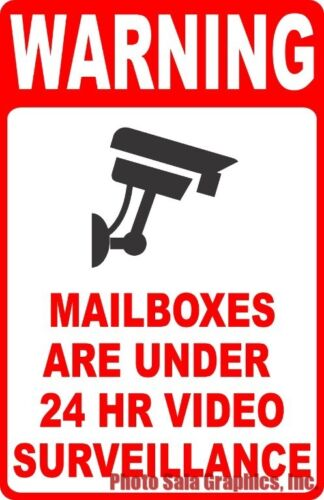 Security Warning Mailboxes Under 24 HR Video Surveillance Sign Size Options