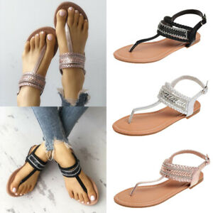 Women-039-s-Sandals-Slingbacks-Bohemian-Casual-Flats-Shoes-Thong-Flip-Flops-Size-6-9