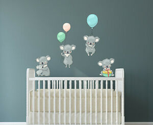 Wandtattoo Kinder Aufkleber Koala Ballon Wolken Wolke Kinderzimmer Wandsticker Ebay