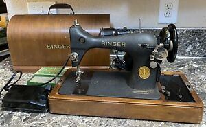 Singer-128-23-Sewing-Machine-Crinkle-Godzilla-1950-Bentwood-Case-Pedal-Used