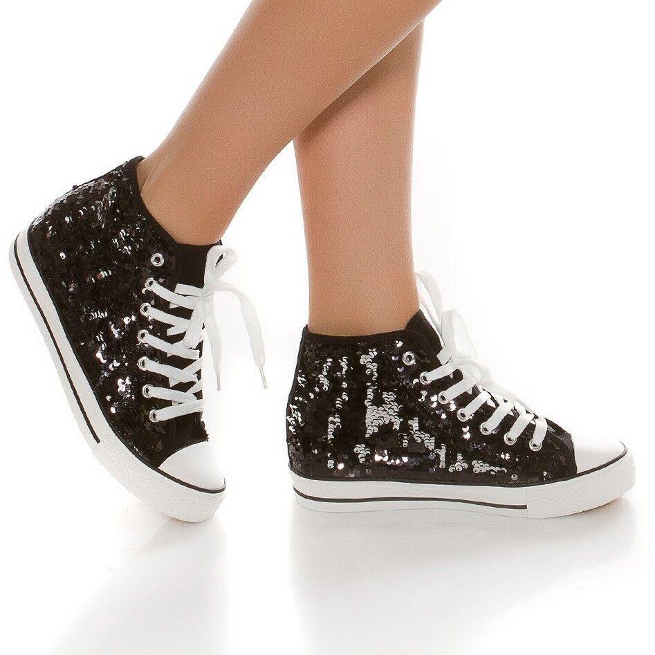 Señora sneakers marca de zapatillas ocio zapatos cordones negro brillo lentejuelas negro cordones e9e57f