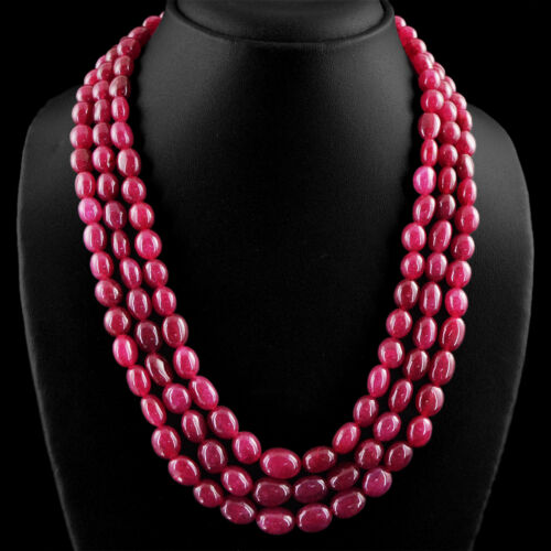 Magnifique Superbe 672.00 cts Earth mined Red Ruby sculpté perles collier Strand
