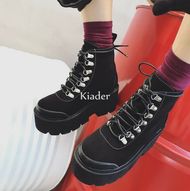 Gothic Womens Punk Lace Up Cambat Platform Creeper Knight SHoes Ankle Boots NEW