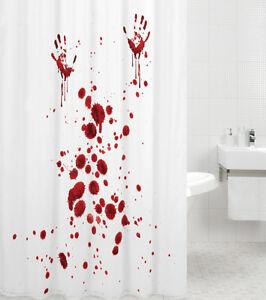 duschvorhang anti schimmel textil wc wannenvorhang badewannenvorhang blood hands ebay. Black Bedroom Furniture Sets. Home Design Ideas