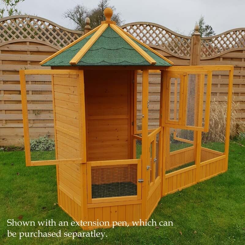 WOODEN AVIARY AVIARY AVIARY HEXAGONAL FLIGHT HOUSE CAGE IDEAL FOR BIRDS CHIPMUNKS CATS NEW + 324ffe