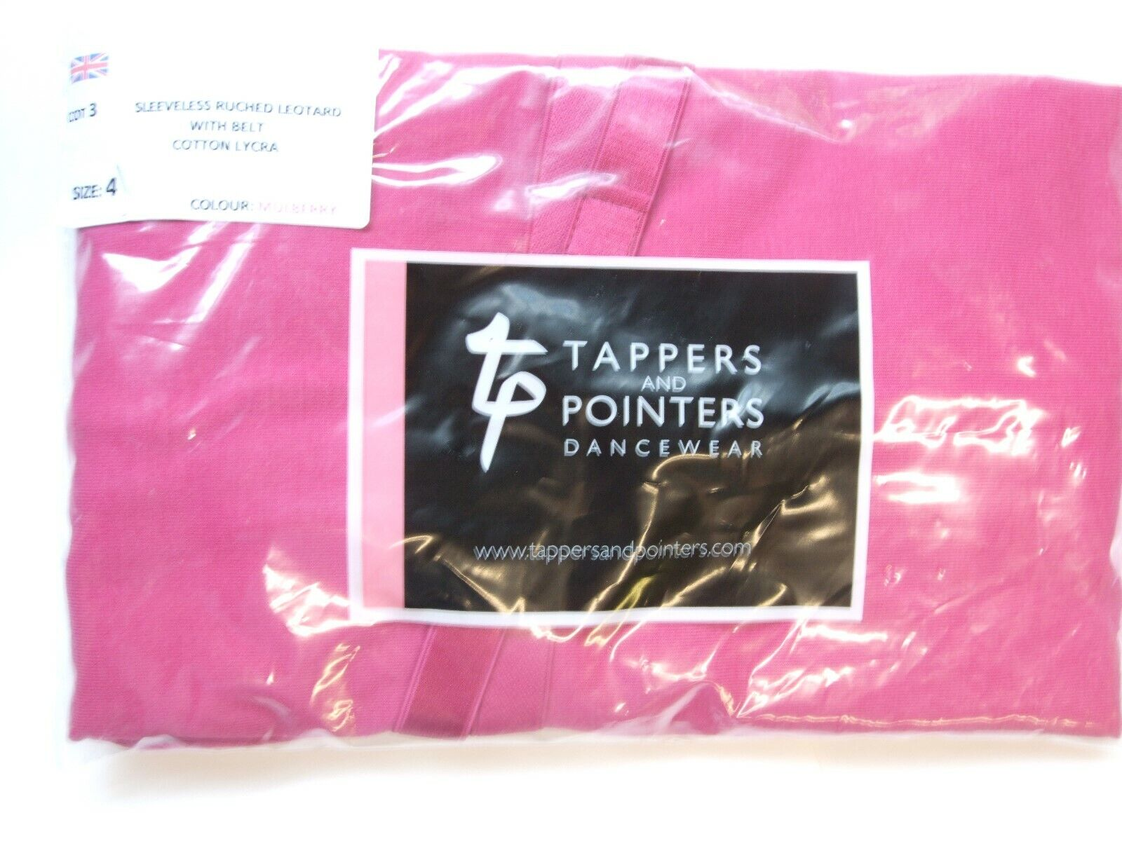 TAPPERS AND POINTERS DANCEWEAR. SLEEVLESS RUCHED LEOTARDWITH BELT. SIZE 4 COT 3