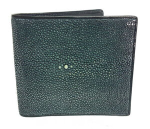 8661a0473e19 Details about 100% GENUINE SMOOTH POLISHED STINGRAY SKIN LEATHER Bi-Fold  MEN COIN WALLET BLACK