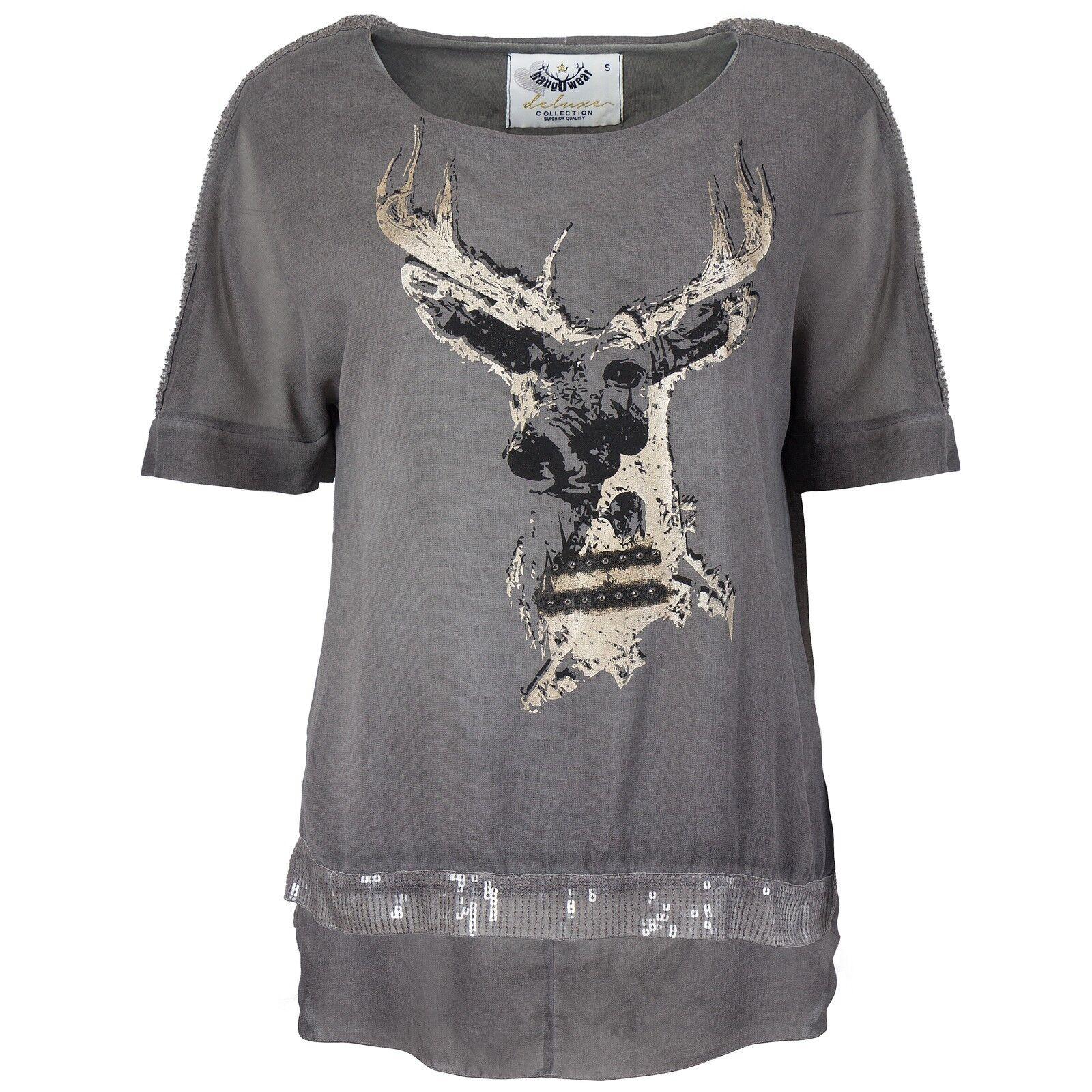 HangOwear Damen Trachten Shirt T-Shirt Top Oktoberfest Pailletten Hirschkopf