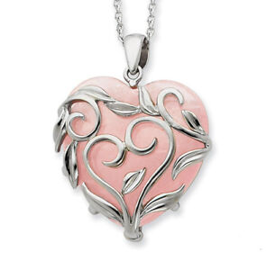 Sterling-Silver-And-Rose-Quartz-Generous-Heart-18in-Necklace