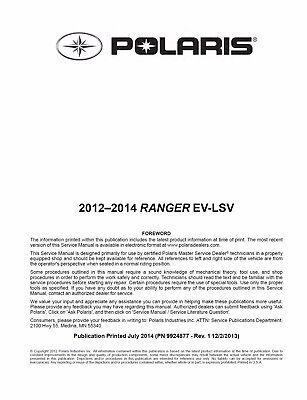 Touring service manual binder EPS Polaris 2012 2013 2014 Sportsman XP 850 HO