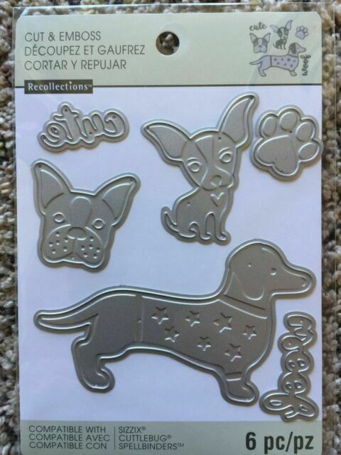 NEW 6 Cutting Dies Recollections Cut And Emboss 542697 Dogs