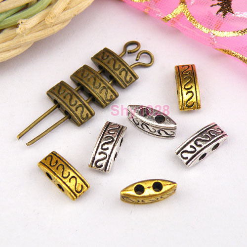 50Pcs Tibetan Silver,Gold,Bronze 2-Holes Spacer Beads Connectors 4x10mm M1155