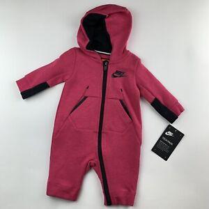 ea4f32021 BABY GIRLS: Nike Tech Fleece 1-Piece Coverall, Rush Pink - 0-3 ...