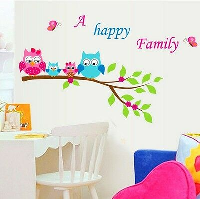 Pink Blue Owl Family On Tree Branch Wall Decal Sticker Home Decor Vinyl Art Kids