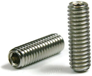 Socket Set Grub Screw Cup Point 18-8 Stainless Steel Screws 1/4-28 Qty 100