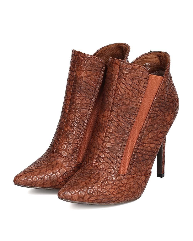 New Women C Label Ariza-13 PU Snakeskin Pointy Toe Chelsea Stiletto Bootie