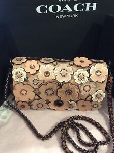 6b6a35df Details about NWT Coach Dinky Crystal Tea Rose Appliqué Nude Glovetanned  Leather $695 RARE!