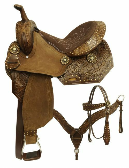 ECONOMY STYLE BARREL SADDLE  SET WITH FEATHER TOOLED DESIGN 14 , 15   online discount
