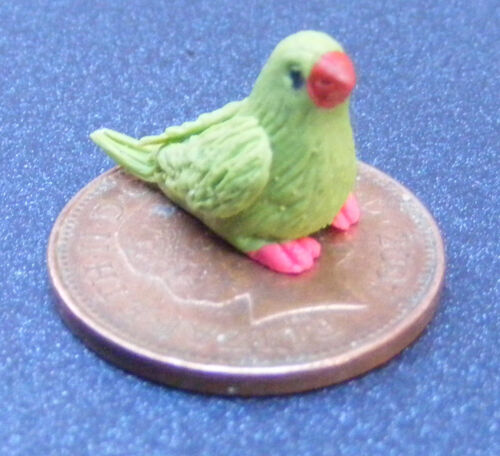 1:12 Scale Polymer Clay Green Bird With Red Feet Tumdee Dolls House Garden K