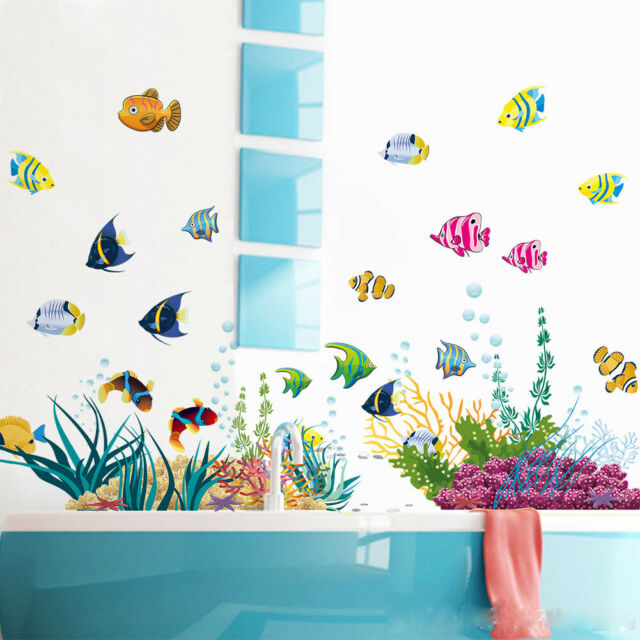 Ocean Fish Room Stickers Vinyl Removable Mural Wall Bath Stickers Room Kids I3L6