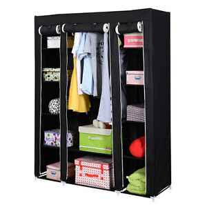 53-Portable-Closet-Wardrobe-Clothes-Rack-Storage-Organizer-With-Shelf-Black-New