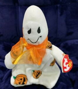 Ghoulish the White Ghost Pumpkin Print Ty Beanie Baby, NWT, 2006, Free Shipping