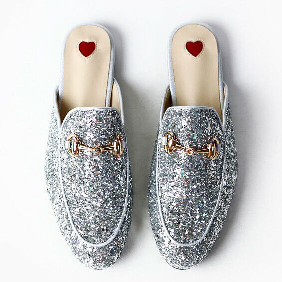 Horsebit Silver GlitteROT Princetown Slide Loafers Slippers Princeton