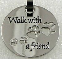 Walk With A Friend Necklace Stainless Steel Dog Paw Footprints Silver