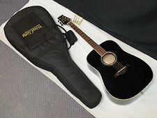 WOOD SONG Dreadnought Acoustic LEFT-HANDED GUITAR new Black w/ BAG - Solid Top