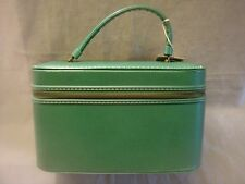 VINTAGE GREEN LEATHER MAKE UP CASE & ACCESSORIES~TRAIN CARRY ON CASE~TRAVEL CASE