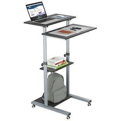 Compact Mobile Stand Up Computer Workstation Height Adjustable Presentation Cart 4517518146848 Ebay