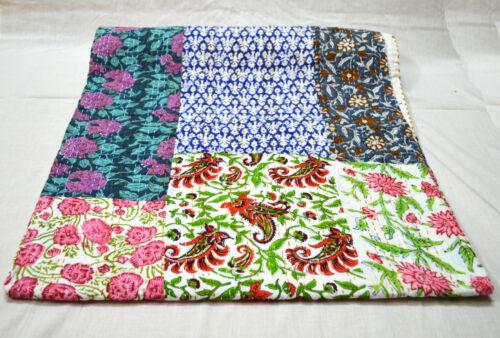Indian Kantha Quilt Cotton Assorted Bedding Blanket Patchwork Coverlet Bedspread