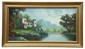 """Spanish Oil Painting on Board Countryside Landscape River Mountains Signed 27"""""""