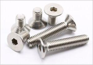 New-10-20-50-100pcs-M3-M4-M5-M6-304-Stainless-Steel-Hex-Flat-Head-Screw-Bolt