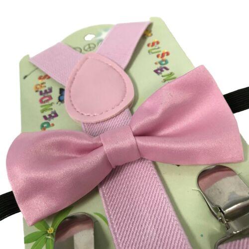 """USA /""""PINK/"""" Matching Suspender /& Bow-Tie Set Kids Toddler Baby Boys Girls"""