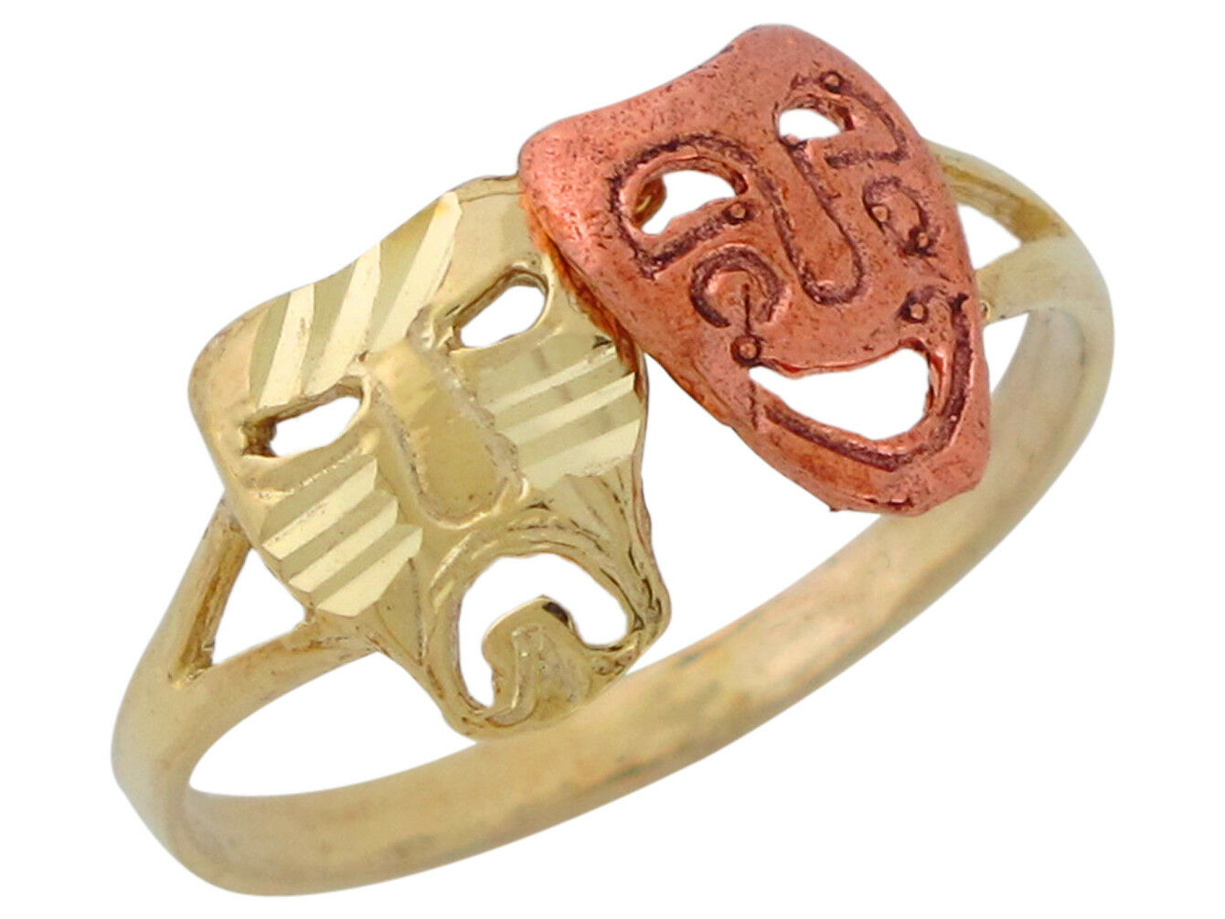10k or 14k Two-Tone gold Vintage Theater Drama Masks Comedy and Tragedy Ring