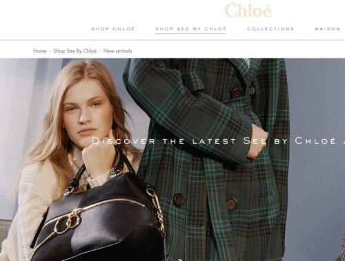 SEE BY CHLOÉ EMY Large Color-Block Leather //Suede Shoulder Satchel Bag MSRP$535
