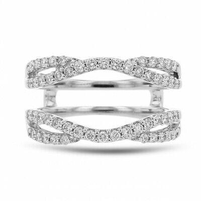 1.20 Ct Round Diamond 14k White Gold Over Engagement Wedding Enhancer Wrap Ring