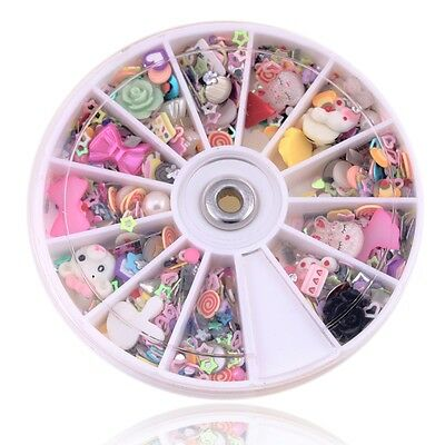 Nail Art Tips Decoration Glitters Rhinestones Slice Wheel Mixed Manicure 1200pcs