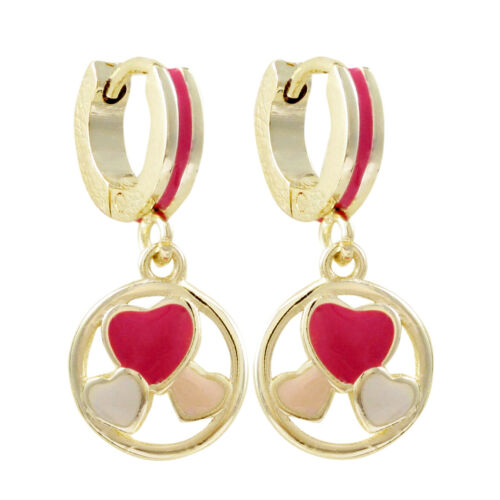 Details about  /Rich Chic Gold Finish Surgical Steel Pink Enamel Dangling Heart Earrings