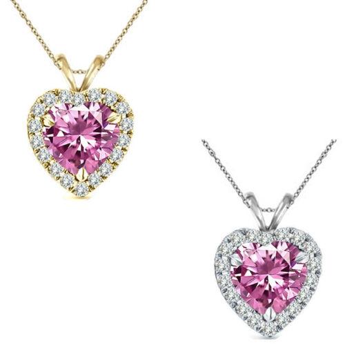 "6mm Heart CZ Pink Topaz Birth Gem Stone Silver Halo Pendant Necklace 18/"" Chain"