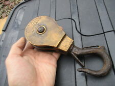 Antique Bronze Rope Pulley Block & Tackle Iron Hook V.M c1900 Lighting Factory