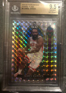 JAMES-HARDEN-2019-20-Panini-Mosaic-Stained-Glass-BGS-9-5-Gem-Mint-Rockets