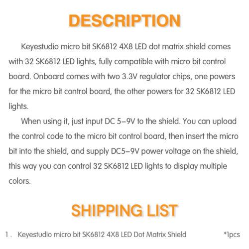 Keyestudio SK6812 4X8 LED RGB Dot Matrix Shield Board Module for BBC Micro:bit
